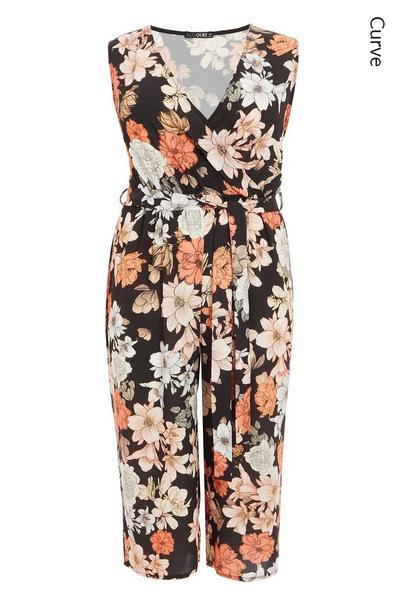 Curve Black Cream And Orange Floral Culotte Jumpsuit